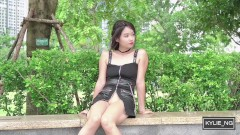 Kylie_NG flashing her shaved pussy at the Central Park