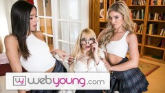 WebYoung 2 College Lesbian Girls & 1 Innocent Blonde Teen Nerd