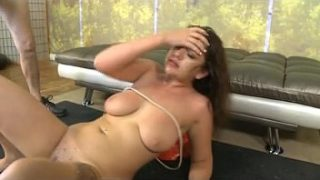Brunette With Ropes On Tits Gets Dat Face Thumped On