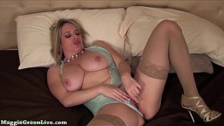 Busty All Natural Maggie Green Masturbates in Lingerie!