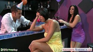 Busty babes Dylan Ryder and Jayden Jaymes sharing a stud at party