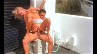 Horny Angel sucks cock and swallows load after fucking on the terrace