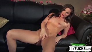 Lily tells us her horny Christmas wishes before satisfying herself in both holes