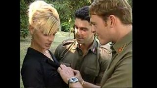Lisa Crawford with two soldiers