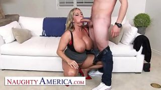 Naughty America – Amber Lynn Bach craves a Creampie from a young buck when she catches him taking photos of her