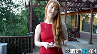 PropertySex – Hot redhead real estate agent performs sexual favors