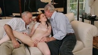 Red Headed Teen Dolly Little Sprawls Out With Two Olds